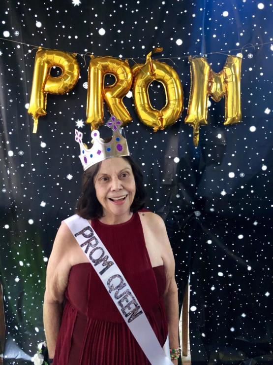 My sweet Grandma Reita has Alzheimer's and she's been upset lately bc she can't remember going to her High School Prom & we have no photos to help remind her. So we threw her a new Prom in our backyard & she's never