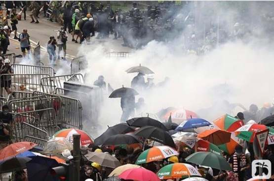 Gas rounds being shot into crowds in Hong Kong