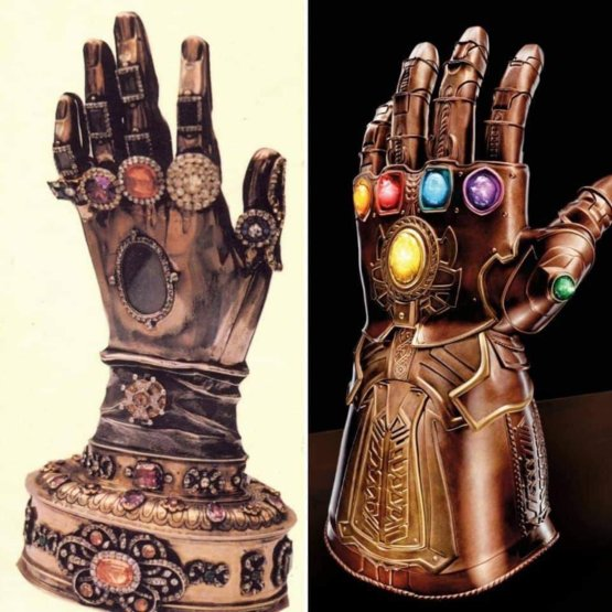 On the left is the relic of the hand of Saint Teresa of Avila. On the right is the Infinity Gauntlet.