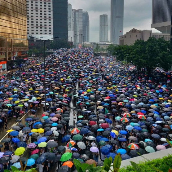 Hong Kong: Umbrellas fill the streets as protesters fill the city. Credit ami.vora