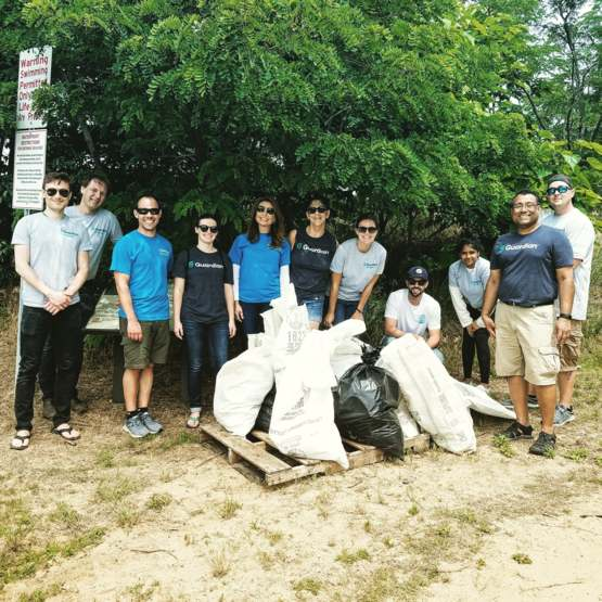 My coworkers and I cleaned up 119 pounds of trash from a local beach! #trashtag