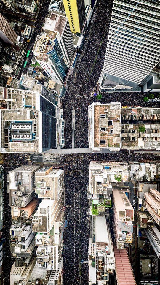 Aerial view of the Hong Kong protests today