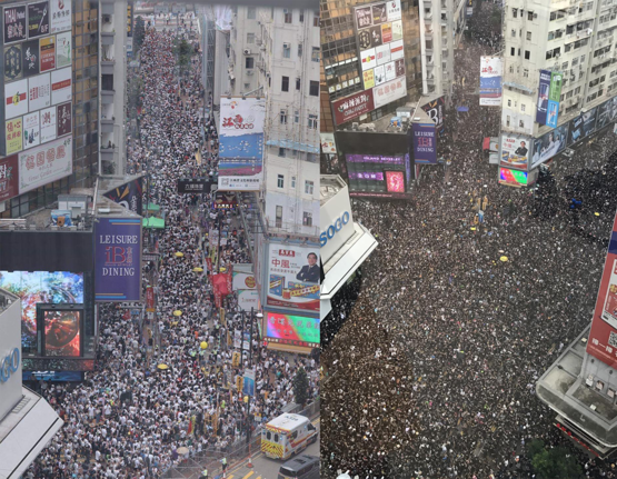 Comparing the protest last week [LEFT] and today [RIGHT] in Hong Kong