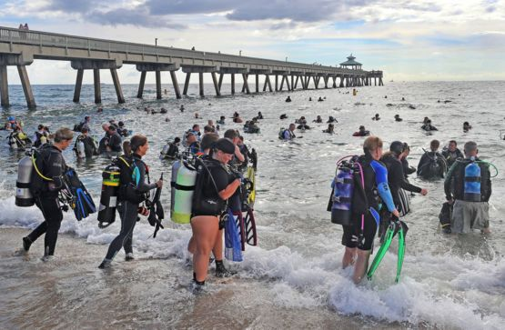 Yesterday 633 local divers set a world record for largest ocean floor clean up, location Deerfield Beach FL