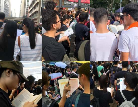 Hong Kong students studying for their finals while protesting