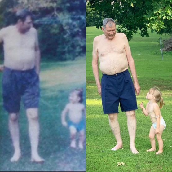 In the first pic, it's my dad and daughter in 1996. The second pic is my dad and grand daughter yesterday. I love how we recreated this, 23 years later. He was really opposed to taking it until he saw how sweet it turned out.