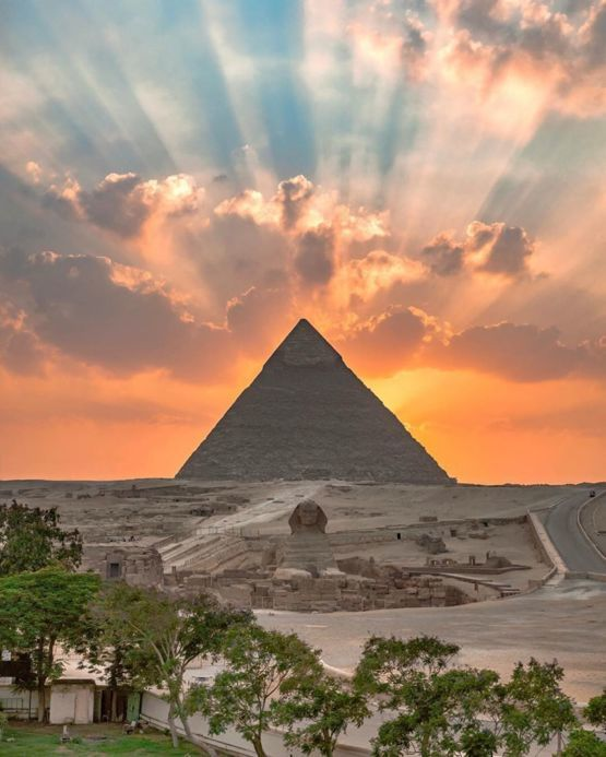 The Great Pyramid of Giza looking majestic.