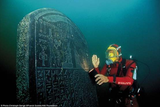 Ancient hieroglyphic slab swallowed up by the Mediterranean around 800AD off the coast of Egypt