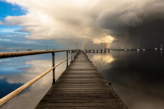 Managed to snap bad and good weather in the middle of this pier - Geelong Australia
