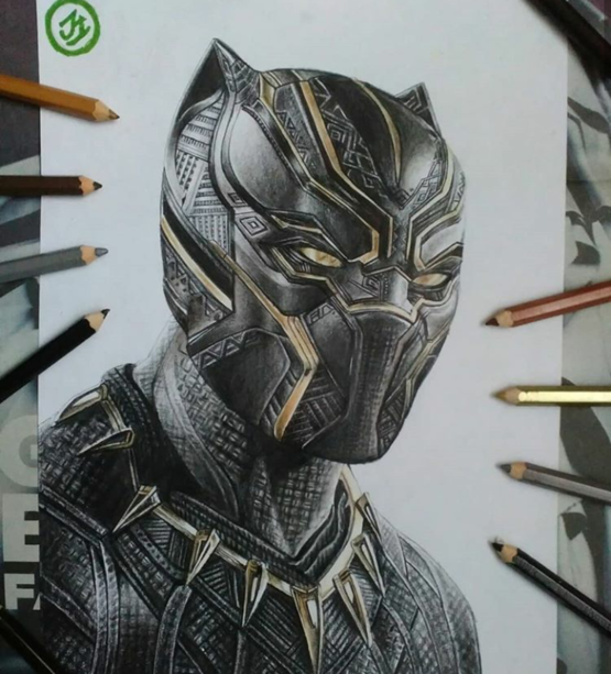 Did a pencil artwork of Black panther, my fav MCU character.