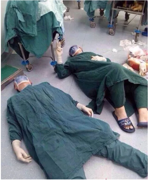 The reaction of two surgeons after successfully removing a