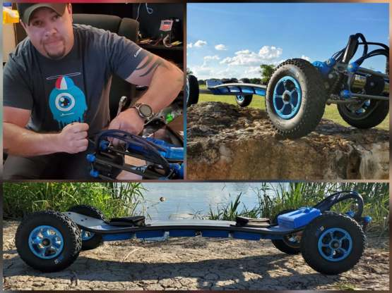 "A while back my buddy said ""I think I am going to start making electric offroad skateboards"". Yesterday I got these pics."