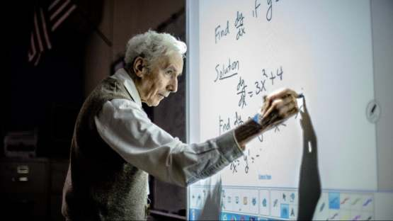 At 86, Louis Kokonis has been teaching math in Alexandria for six decades, and even after all this time, he's still learning, still honing his craft and embracing new technology. Like this smart board.
