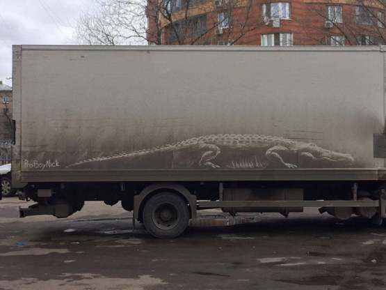 The dust painting on this dirty truck...