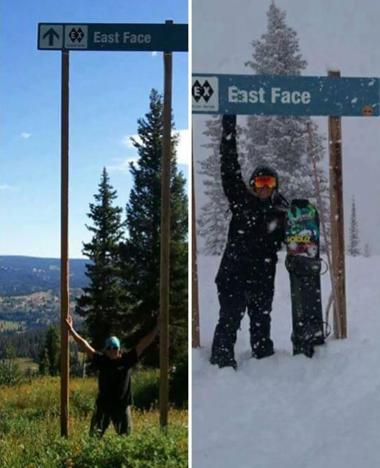 This ski trail sign in summer versus winter.