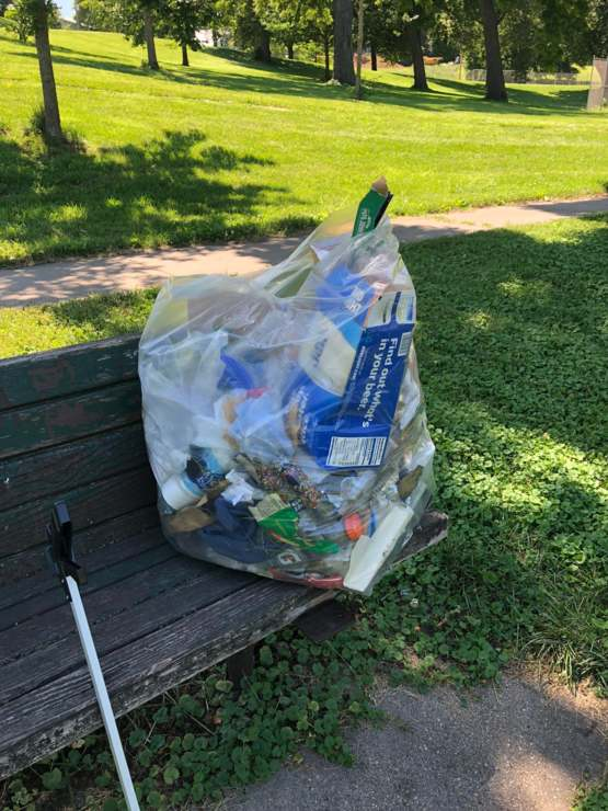 I went and picked up trash in my neighborhood. Keeping the trash tag going!