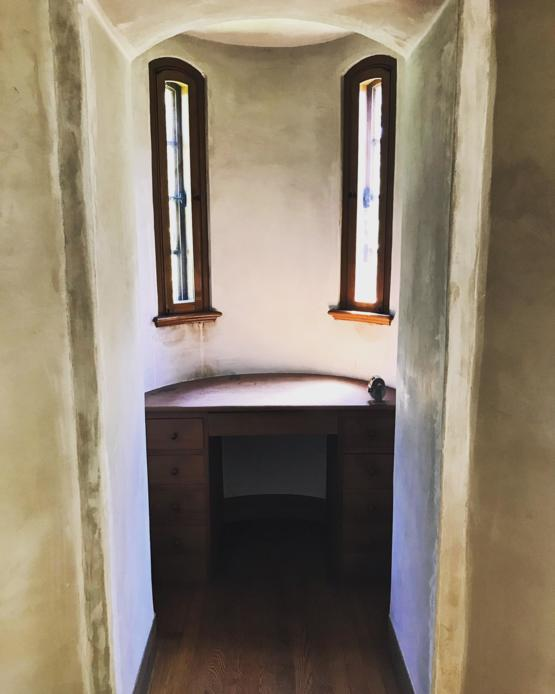 I work in architectural salvage, and was taking doors out of an old mansion today when I fell in love with this writing nook