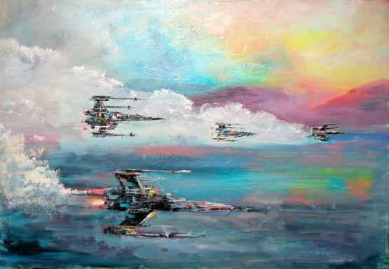 My oil painting of X-Wing Fighters on canvas