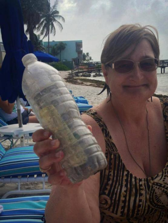 While on the beach she finds a bottle with a message, some sand and some money. Once opened she read that the sand was actually the ashes of this woman's husband of 70 years named Gordon. He loved to travel so she sent him with a note and money for someon