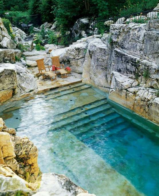 Swimming pool cut from an old Limestone quarry
