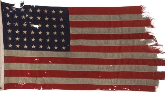 This USA Flag landed on Normandy Beach at D-Day, now returned to the USA as a gift from the Netherlands