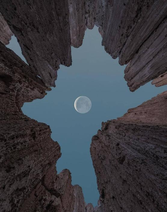 The moon at Cathedral Gorge