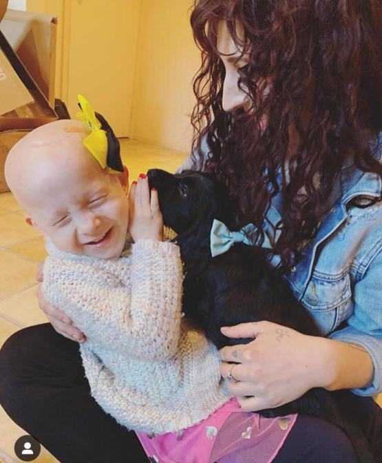 My little girl has brain cancer and has spent most of this year in hospital. Today I took her to meet my friend's puppy, and she was the happiest she's been all year!