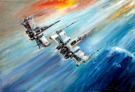 Oil painting of X-Wing Fighters by me