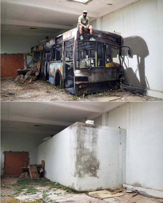 This graffiti artist turned a block wall into a bus