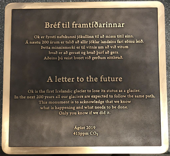 """Scientists bid farewell to Okjökull, the first Icelandic glacier lost to climate change, with a monument that features """"A letter to the future"""""""