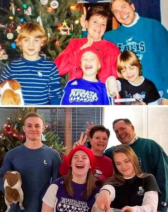 A beautiful family before and after some years