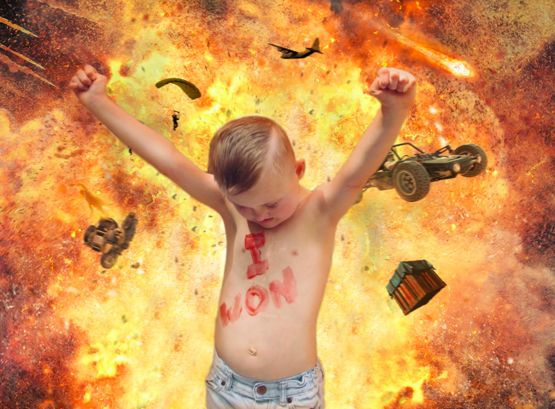 I thought the photo of the young man who beat cancer looked like he was celebrating in front of a big explosion so I did this for him.