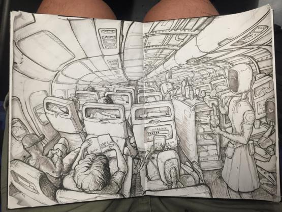 My sketch when I was on the flight from Majorca to Berlin, September 2018