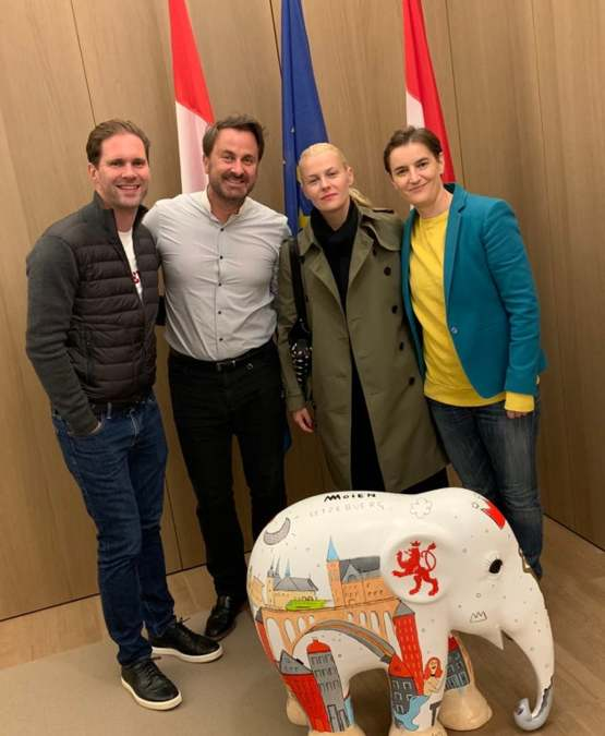 Openly gay Prime Minister of Luxembourg with his partner welcoming openly lesbian Prime Minister of Serbia and her partner ahead of the first official visit between two LGBT Heads of Government.