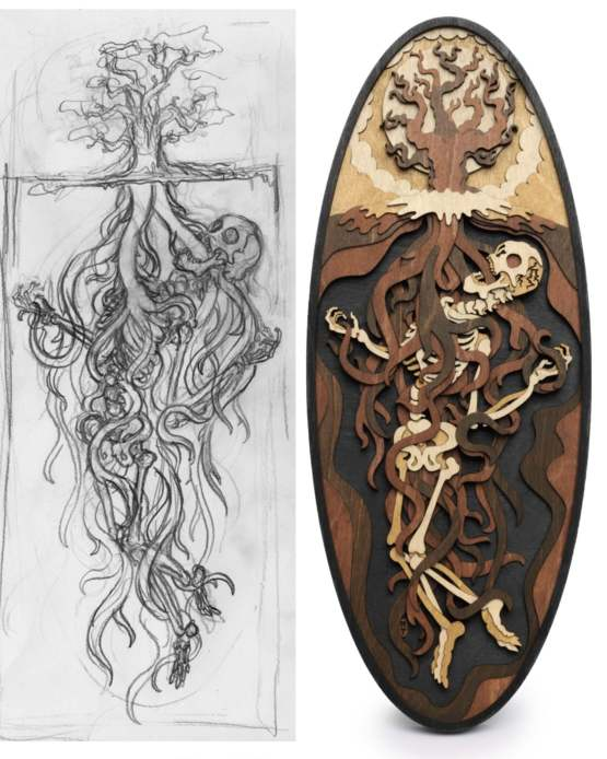 Ancient prisoner entangled in the roots of a tree, sketch and final woodwork made by me!
