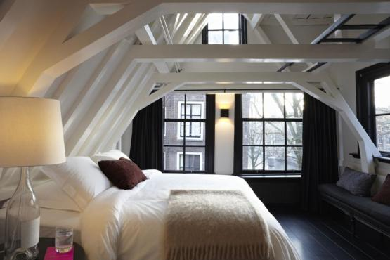 Black & White Attic Bedroom