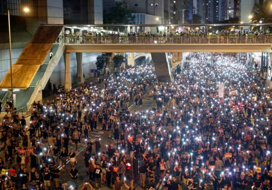 Hong Kong Protesters pause all activities In solidarity against terrorism for 9/11