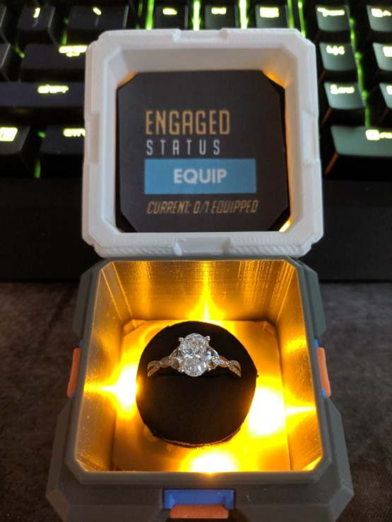 I was inspired by an Overwatch engagement ring box I found online, so I decided to make one for my girlfriend. I hope she says yes.
