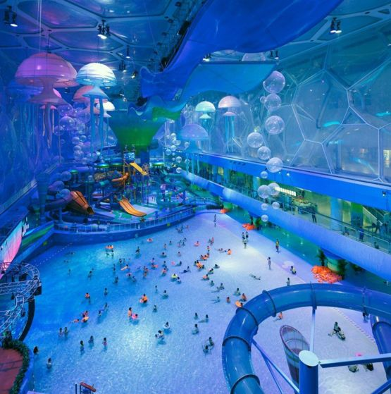The building used for the swimming events at the 2008 Summer Olympics in Beijing was transformed into this dope-looking waterpark.