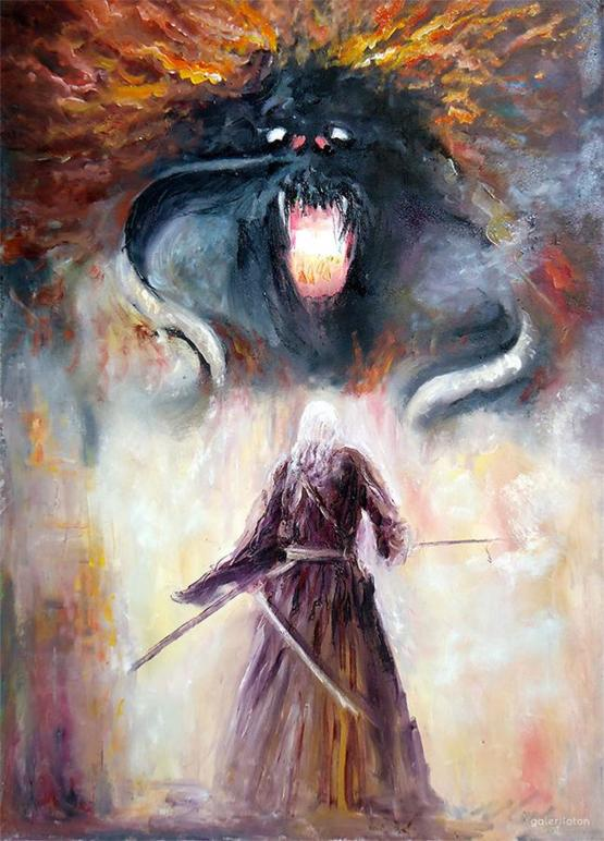 My oil painting of Gandalf vs Balrog from LOTR