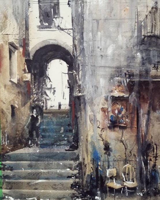 Watercolour painting in Palermo, Italy. By me.
