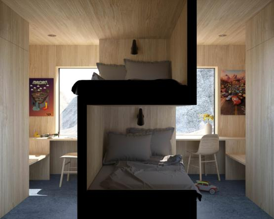 Very cool design for siblings sharing a room