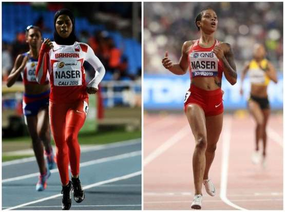 Salwa Eid Naser wins the 400m in Doha, this time competing without hijab, body suit and showing piercings and tattoos