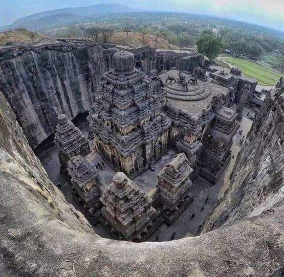 Kailasa Temple in India, carved out of a single piece of rock.