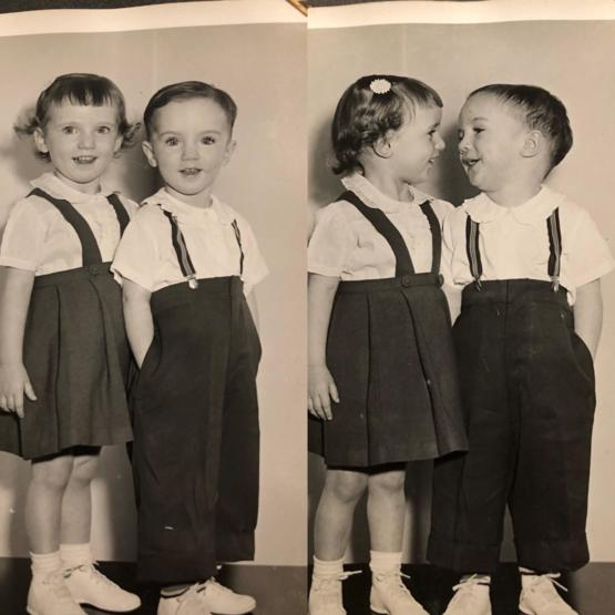 My grandmother and her twin brother, 1953 Germany. They would soon be adopted and move to the US.