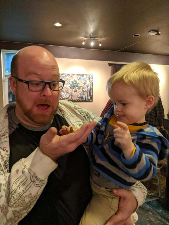 My two-year-old son giving me my four-year NA coin!