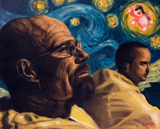 """A Crystal Blue Night"", A Breaking Bad/Van Gogh inspired oil painting/charcoal & pastel drawing I did!"