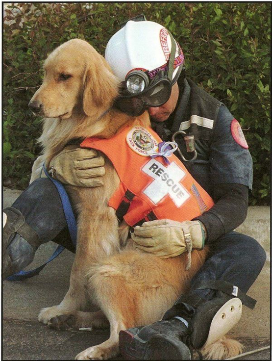 Firefighter Skip Fernandez rests on his rescue dog, Aspen, during the search for survivors of the Oklahoma City bombing, April 26, 1995