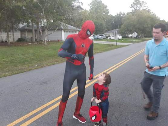 I know it is late, but my son was spider-man for halloween. He was sure he ran into the real spider-man and was so excited!!