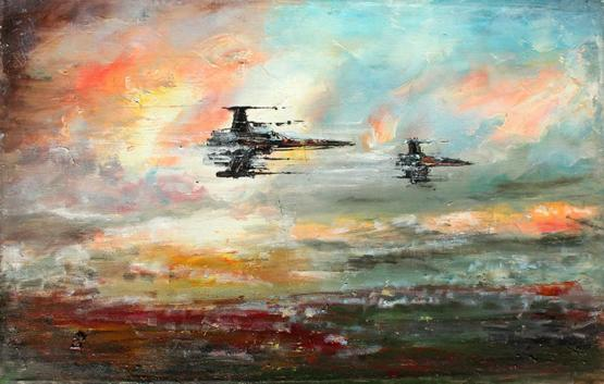 My oil painting of X-Wing Starfighters on canvas